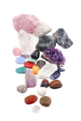 composition of various crystals on white background. Various as kinds, shapes, sizes, and processes. studio light