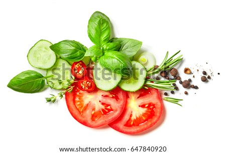 composition of vegetables, herbs and spices isolated on white background, top view #647840920