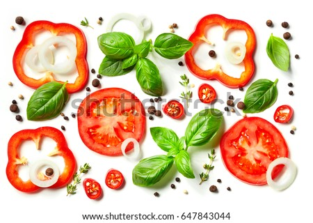 composition of vegetables, herbs and spices isolated on white background, top view - Shutterstock ID 647843044
