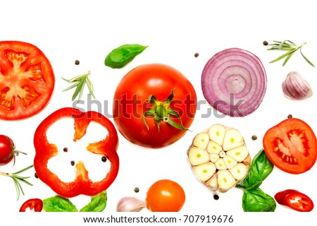 composition of vegetables, herbs and spices isolated on white background, top view #707919676