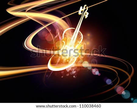 Composition of violin graphic musical notes and design for The craft of musical composition