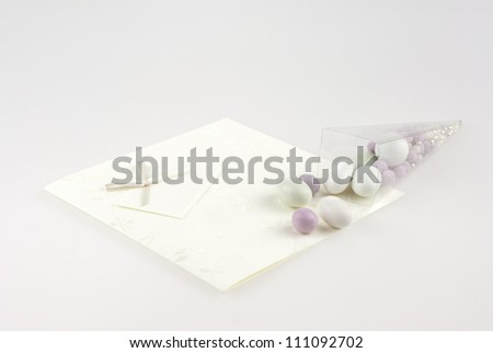 Composition of wedding dragee isolated on white backgroung