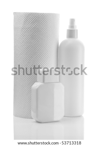 composition of white bottles and paper towel