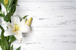 composition of white lilies on a light wooden background .