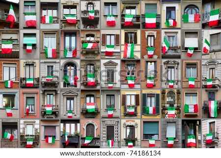 Composition of windows showing Italian flags in occasion of the celebration of the 150th anniversary for the unity of Italy.