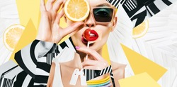 composition of women  in sunglasses with lollipop and lemon on striped background