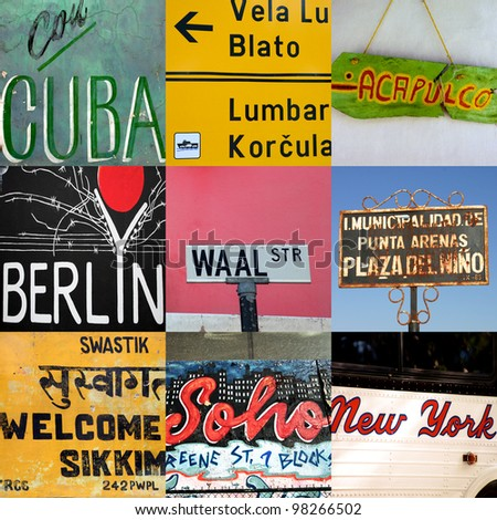 Composition of world travel signs in Africa, Asia and South America