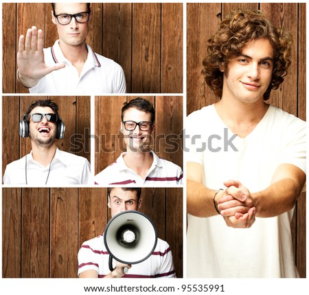 composition of young men against a wooden wall - stock photo