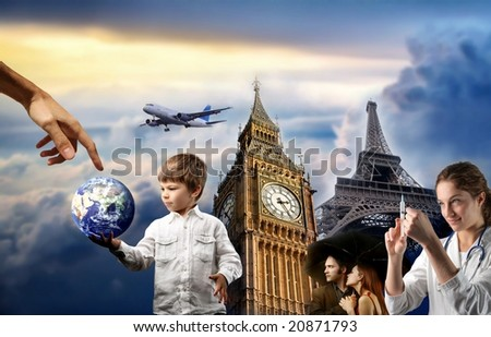 Large Picture Eiffel Tower on Composition With A Child  A Couple  A Doctor  Big Ben And Eiffel Tower