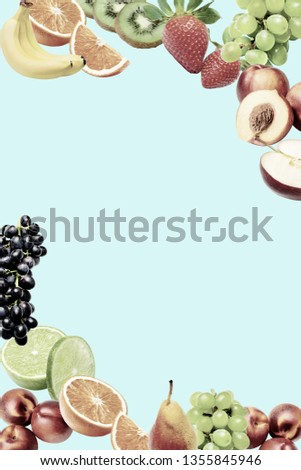 Composition with a large variety of different fruits in the lower and upper corners of the frame. Place for text in the middle. Muffled saturation. Blue background. #1355845946
