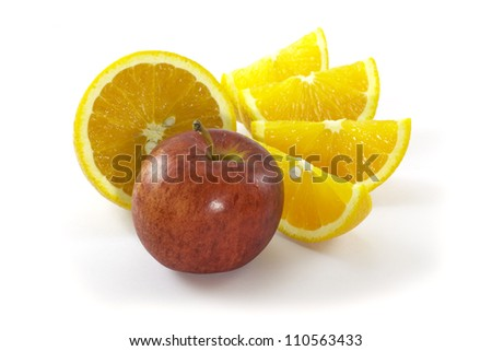 Composition with apples and oranges isolated on white