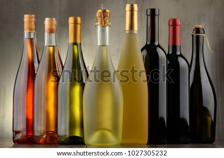 Composition with assorted bottles of wine. #1027305232