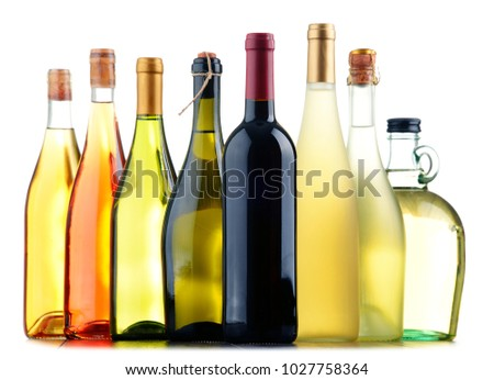 Composition with assorted bottles of wine. #1027758364