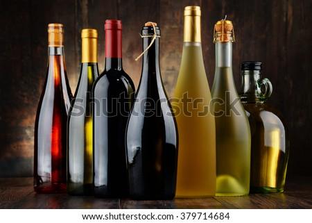 Composition with assorted bottles of wine. #379714684