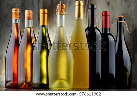 Composition with assorted bottles of wine. #576611902
