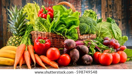 Composition with assorted raw organic vegetables. Detox diet #598749548