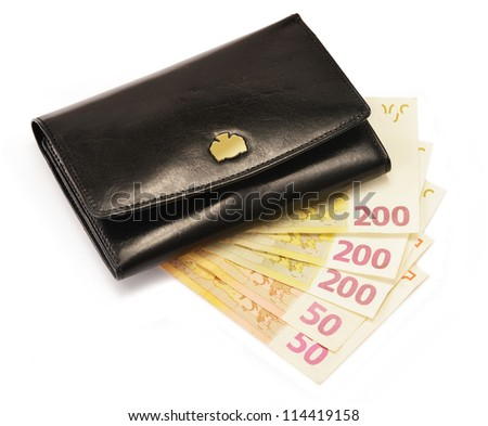 Composition with black wallet and Euro banknotes isolated on white - stock photo