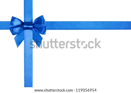 composition with blue ribbons and a bow isolated on white