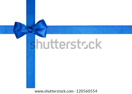 composition with blue ribbons and a simple bow isolated on white