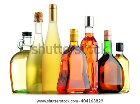 Composition with bottles of assorted alcoholic beverages. #404163829