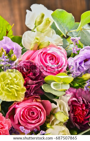 Composition with bouquet of flowers. #687507865