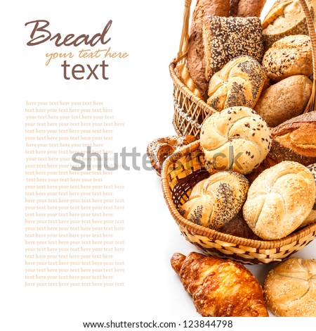 Composition with bread and rolls on white