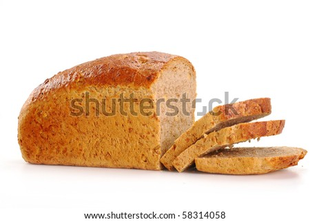 Composition with bread isolated on white