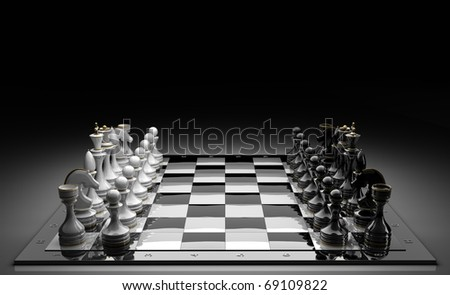 Composition with chessmen on glossy chessboard on black 3d render
