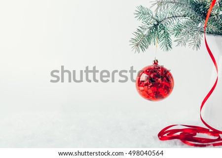 Composition with Christmas decorations in vase on white background #498040564