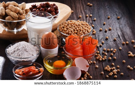 Composition with common food allergens including egg, milk, soya, peanuts, hazelnut, fish, seafood and wheat flour Сток-фото ©