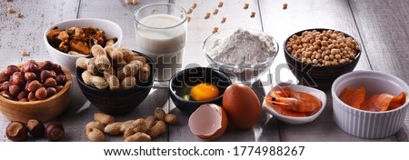 Composition with common food allergens including egg, milk, soya, peanuts, hazelnuts, fish, seafood and wheat flour Сток-фото ©