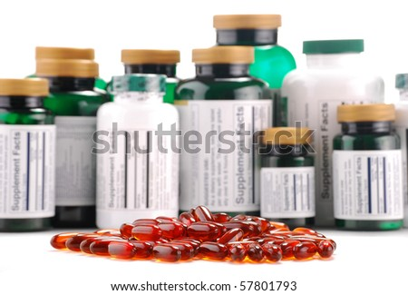 Composition with containers of dietary supplements and capsules