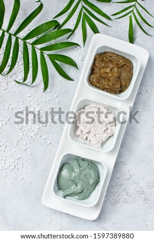 Composition with cosmetic clay for spa treatments, top view. Natural cosmetics in home or salon treatment