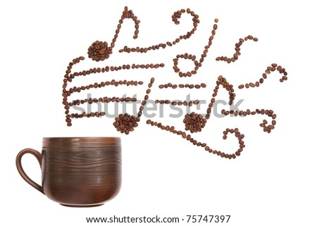 Composition with cup and coffee beans forming musical  notes