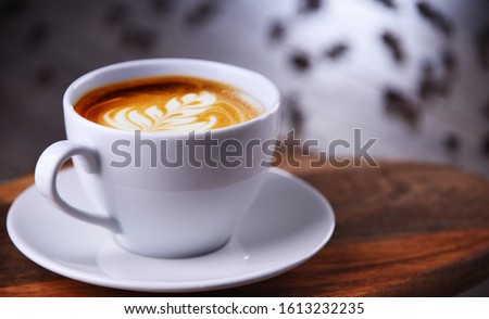 Composition with cup of caffe latte. Foto d'archivio ©