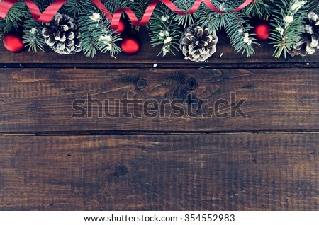 Composition With Decorated Christmas Tree On Dark Rustic Wooden Background Copy Space For Text