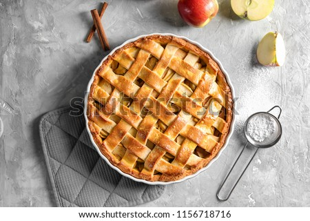 Composition with delicious apple pie on light background #1156718716