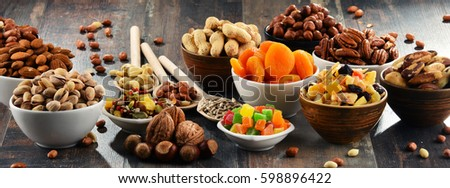 Shutterstock Composition with dried fruits and assorted nuts. Delicacies