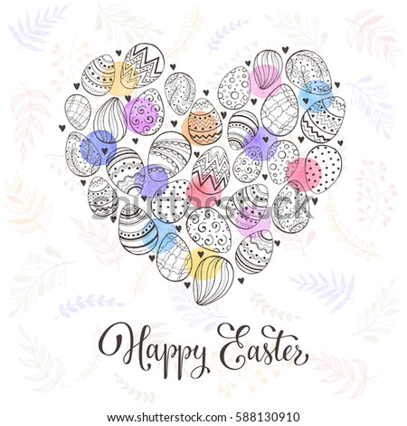 Composition with easter eggs hand drawn black on white background. Easter greeting card with colorful spots and leaves in heart shape. #588130910