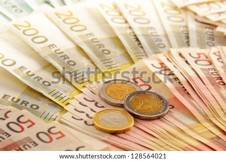 Composition with Euro banknotes. European Union currency