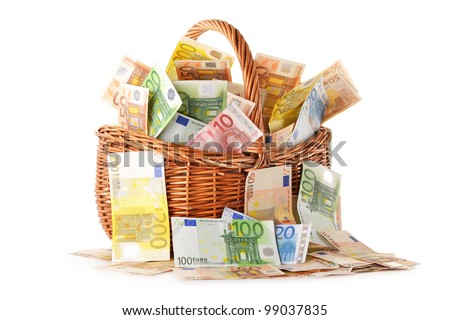 Composition with Euro banknotes in wicker basket. European Union currency