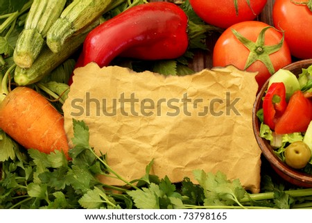 Composition with fresh raw vegetables , background with a salad and vegetables with a copy Space