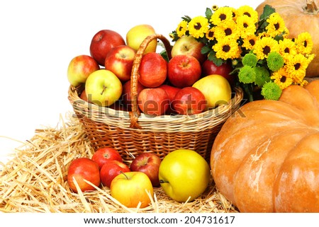 Composition with fruits and vegetables close up