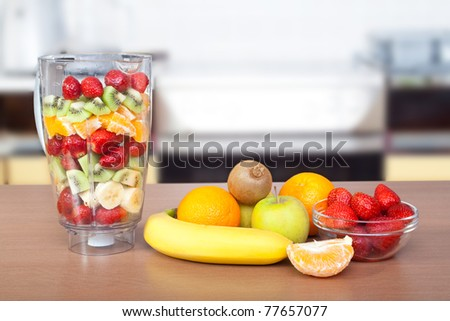 Composition with fruits, fruits on table