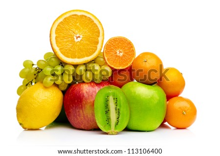 Composition with fruits isolated on a white background