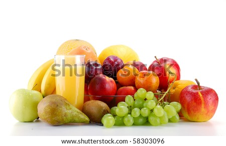 Composition with fruits isolated on white background