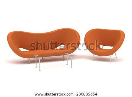 composition with furniture isolate on white