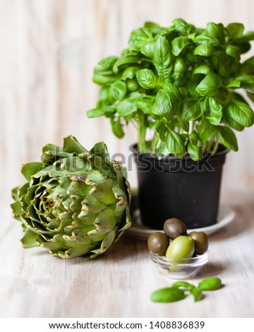 Composition with green elements: fresh basil in a pot, fresh artichoke, olives on light wooden background #1408836839