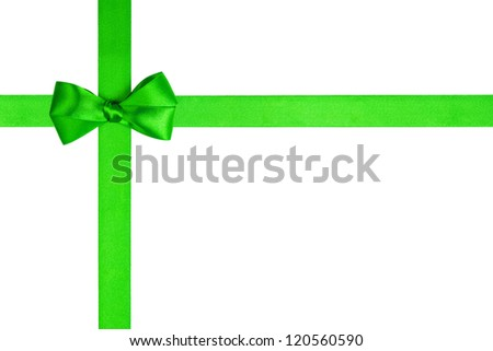 composition with green ribbons and a simple bow isolated on white