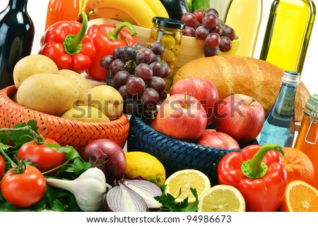 Composition with groceries. Vegetables, fruits, wine and bread.